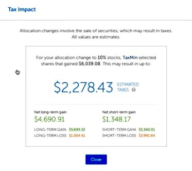 Tax impact preview