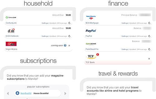 manilla accounts interface