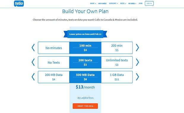Tello Mobile Build Your Own Plan